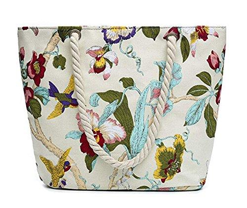 Bebelle Bolsos totes mujer bolso de la lona de las mujeres Travel Top Handle Bag Bohemia bolso de hombro de gran tamaño Holiday Beach Bag Shopping Bag Varios Colores-15