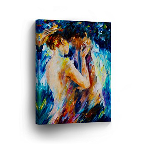 Lovers Kissing Couple Colorful Naked Nude Oil Painting CANVAS PRINT Decorative Art Wall Home Artwork / Gallery Wrapped Stretched /Ready to Hang -%100 Handmade in the USA _CA by Smile Art Design
