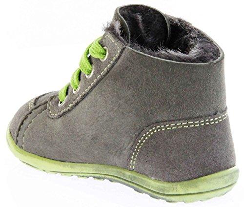 Richter Kinder Minis grau Velour Warm Lammfell Schnürer Jungen-Schuhe 0025-832-6610 pebble Mini, Farbe:grau;Größe:19 Grau