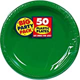 Big Party Pack Dessert Plates, 50 Pieces, Made from Plastic, Green, 7-Inch by Amscan