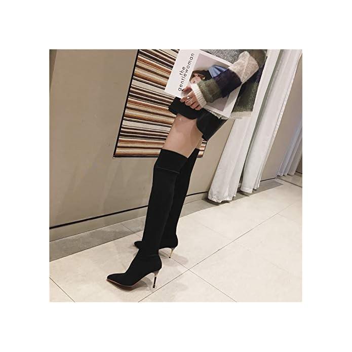 Ajunr Donna Alla Moda Lungo Tubo Knight Boots Con Alto 8cm Tacco Sottile Stivali Sexy Al Ginocchio