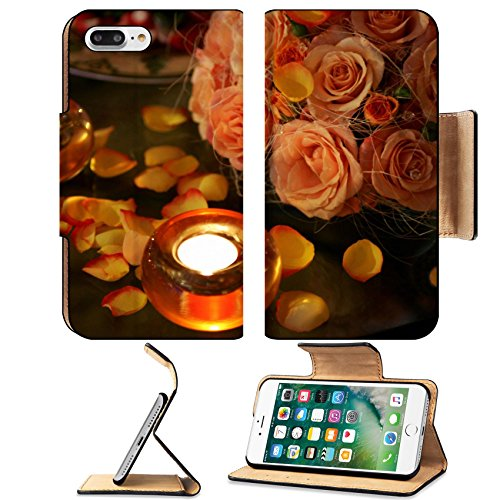 Luxlady Premium Apple iPhone 7 Plus Flip Pu Leather Wallet Case iPhone7 Plus 3847916 Close up of table decorated with burning candles and flower petals romantic scene Xmas Scenes Wallpaper