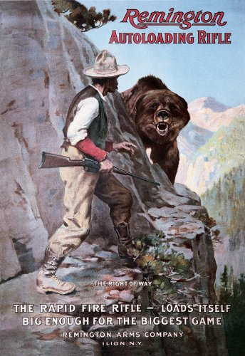 Poster Discount Remington Autoloading Rifle Right of Way Bear Hunting Retro Vintage Tin Sign - 13x16, 13x16