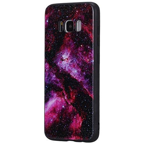EUWLY Funda Samsung Galaxy S8 Plus, Samsung Galaxy S8 Plus Carcasa Brillante Lujo Elegante Glitter Silicona Funda Ultra Fina TPU Silicona Case Parachoques Protección Caja del Teléfono Vidrio Templado  Cielo Estrellado Rojo