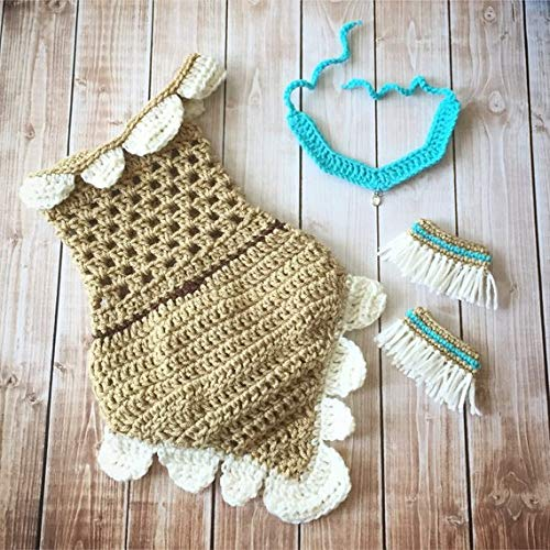 Pocahontas Inspired Costume/Crochet Pocahontas Dress/Indian Princess Costume/Princess Photo Prop Newborn to 12 Months- MADE TO ORDER]()