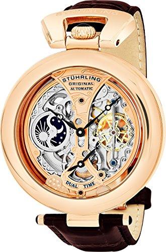 Stuhrling Original Men's 127A.334553 Special Reserve Emperor's Grandeur Skeleton Rose Tone Watch