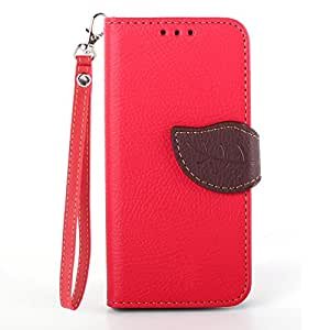 Nicelin(TM) Leaf Pattern PU Leather Stand Case for Samsung Galaxy S5 mini (Red)