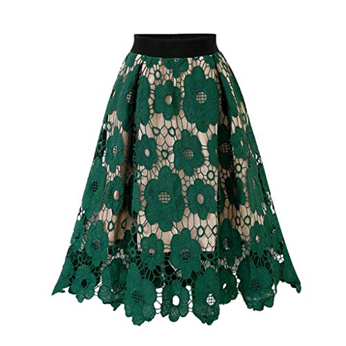 Womens Crotch Lace Knee Length Ladies Soft Stretch Flared Printed Skater Skirt