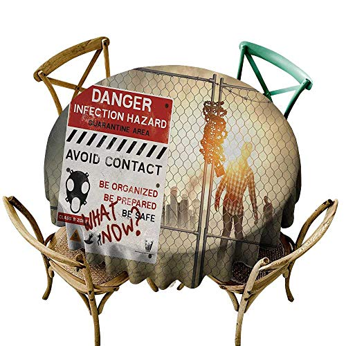 Wendell Joshua Party Tablecloth 36 inch Zombie,Dead Man Walking in Dark Danger Scary Scene Fiction Halloween Infection Picture,Multicolor 100% Polyester Spillproof Tablecloths