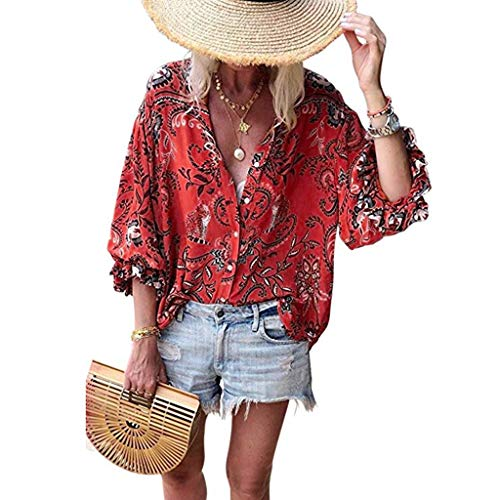 Haalife◕‿Women's 3/4 Bell Sleeve Floral Print Top Women's Casual Twist Knot Blouse Mesh Panel Summer Blouse Shirt