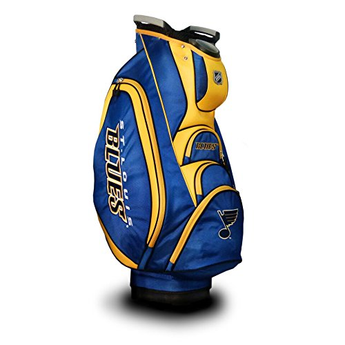 - Team Golf NHL St Louis Blues Victory Golf Cart Bag, 10-way Top with Integrated Dual Handle & External Putter Well, Cooler Pocket, Padded Strap, Umbrella Holder & Removable Rain Hood
