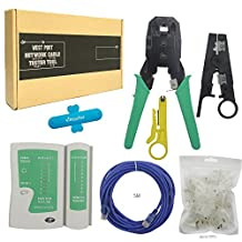 New Ethernet Cable Tester +Crimp Crimper +70 Rj45 Cat5 Cat5e Connector Plug Network Tool Set