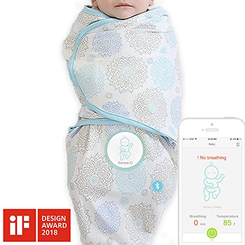 Sense-U SMART Swaddle Blanket with Integrated Breathing Movement Monitor that Alerts You for No Breathing, Stomach Sleeping, Overheating and Getting Cold with Audible Alarm from your Smartphone(Large)