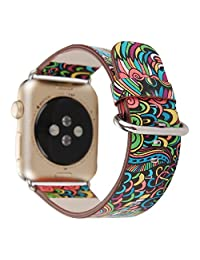 TCSHOW For Apple Watch Band 38mm,38mm Soft PU Leather National Style Replacement Strap Wrist Band Bracket with Silver Metal Clasp for both Series 1 and Series 2