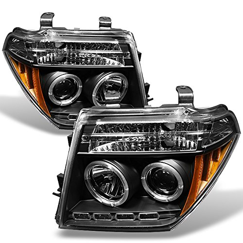 Nissan Frontier Pathfinder Black Bezel Dual Halo Ring Projector LED Headlights Driver Passenger (Frontier Accessories)