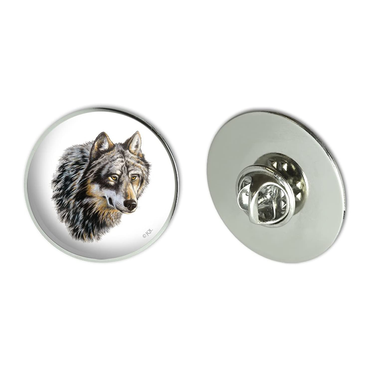 "Wild Wolf Head Metal 1.1"" Tie Tack Hat Lapel Pin Pinback"