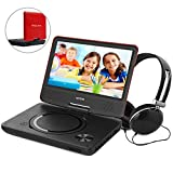 9.5 Inch Portable DVD Player for Kids with Swivel Screen, USB / SD Slot (RED)