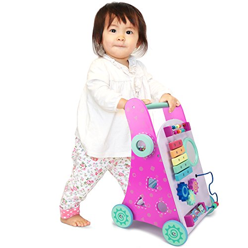 Pink Push-n-Play Wooden Learning Walker Toy, 10 Fun Activities for Sitting, Standing, & Walking Toddlers by Imagination Generation
