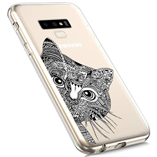 Price comparison product image Galaxy Note 9 Silicone Case, MoreChioce Fashion Creative Painted Pattern Design Slim Transparent Silicon Protective Cover Compatible with Samsung Galaxy Note 9 + 1x Blue Stylus Pen - Cat Head