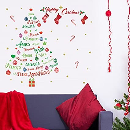 Decoración Wallflexi Pegatinas Navidad De Pared Árbol Aj45RL