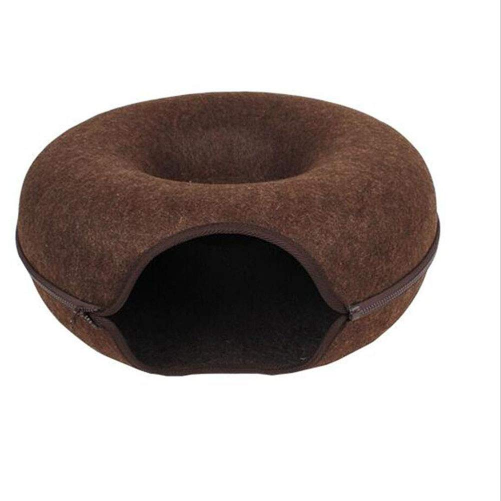 Brown H.ZHOU Dogs and Cats Bed Liners & Mats Cat Nest Tunnel Cat Toy Cat Supplies Four Seasons General Use Semi-closed Removable Pet House Summer (color   BROWN)
