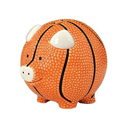 Enesco Basketball Piggy Bank, Ceramic, 4.25 inches, Orange