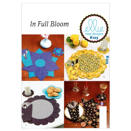 KWIK-SEW PATTERNS K0123 Placemats/Coaster and Silverware Case Sewing Template, One Size
