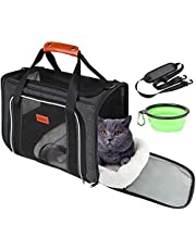 GUIFIER Pet Travel Carrier Bag, Portable Pet Bag - Folding Fabric Pet Carrier, Travel Carrier Bag for Dogs or Cats, Pet Cage with Locking Safety Zippers, Foldable Bowl, Airline Approved