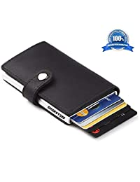 GingkoTree Credit Card Holder RFID Blocking Wallet Slim Wallet PU Leather Vintage Aluminum Business Card Holder Automatic Pop-up Card Case Wallet Security Travel Wallet(Black)