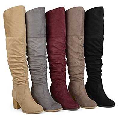 Brinley Co. Womens Regular Wide Calf and Extra Wide Calf Ruched Stacked Heel Faux Suede Over-The-Knee Boots