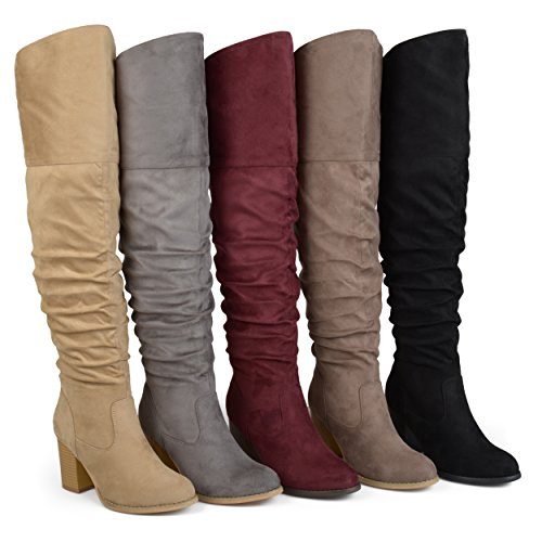 Brinley Co Womens Regular Wide Calf and Extra Wide Calf Ruched Stacked Heel Faux Suede Over-The-Knee Boots