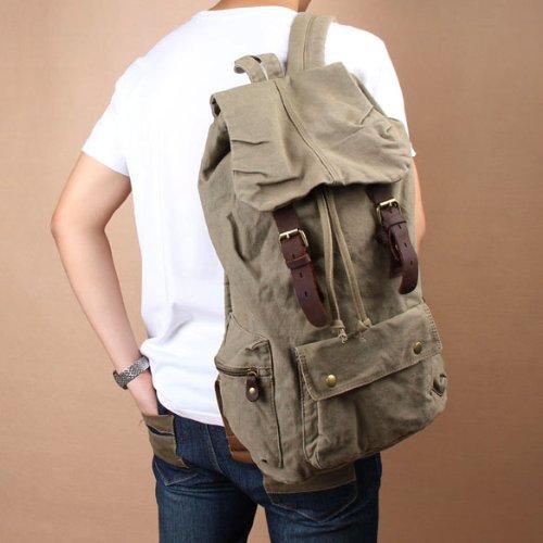 Vktech® New Men Women Vintage Canvas Backpack Hiking Travel Bag Schoolbag 2 Colors (Hot Army Green)
