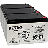 Bruno Rio 3 Travel 12V 12.0Ah Battery - Fresh & REAL 14.0 Amp - GEL Deep Cycle AGM/SLA Seal Lead Acid Designed for Wheelchair - Genuine KEYKO KT-12120 HRT - F2 Terminal - 3 Pack