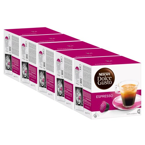 Nescafé Dolce Gusto Espresso, Pack of 5, 5 x 16 Capsules
