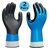 Waterproof Work Gloves 2 Pairs/Pack, Double Latex Coated Grip and Comfortable, Improved Dexterity for Outdoor Garden Watering Car Cleaning Multipurpose, Size for Men L, XL Hands.