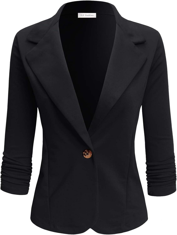 ELF FASHION Womens Casual Work Office Blazer Jacket with Plus Size (Size S~3XL) Black 1XL
