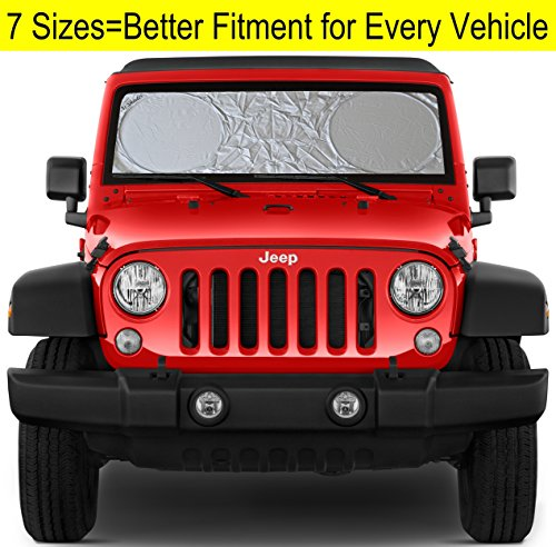 Windshield Sun Shade for Jeep Wrangler Rubicon Toyota FJ Cruiser XS (Jeep Shade)