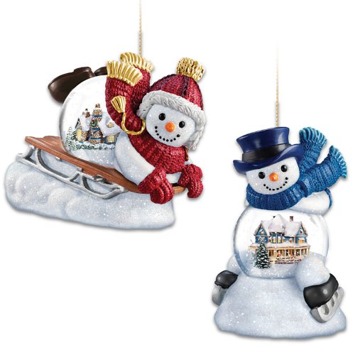 Kinkade Ornaments Bradford - Ornament Set: Thomas Kinkade Sled Ahead And Make A Joyful Noise Snowglobe Ornament Set by The Bradford Exchange