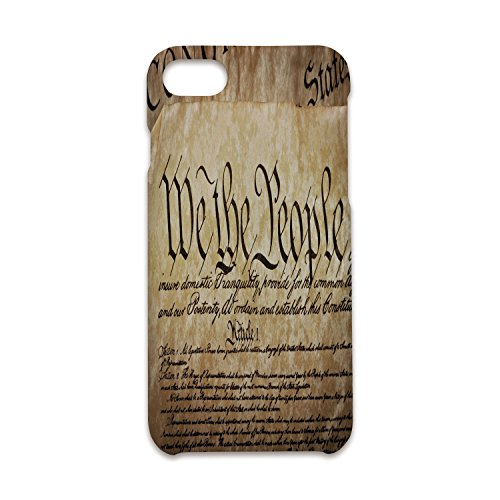 Case Compatible iPhone 8/7 Durable Hard Case Cover,United States,Vintage Constitution Text of America National Glory Fourth of July Image,Light Brown,Antiskid Proof Shell