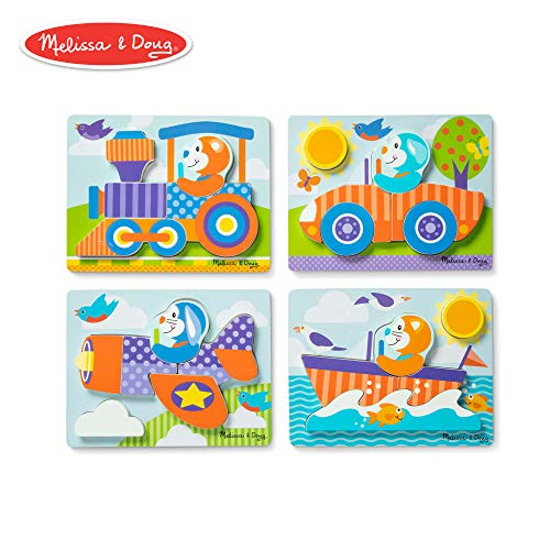 - Melissa & Doug First Play Vehicles Wooden Chunky Jigsaw Puzzle Set (4-Pack, 5-6 Pieces)