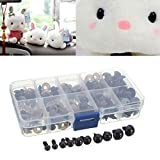AUAUDATE 100pcs Black Plastic Safety Eyes for Teddy Plush Doll Puppet DIY Crafts 6-12mm
