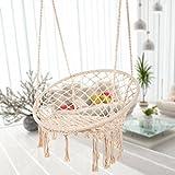 Bormart Hammock Chair Macrame Swing, Hanging Lounge Mesh Chair Durable Cotton RopeSwing for Bedroom, Patio, Garden, Deck, Yard, Max Capacity 265 Lbs