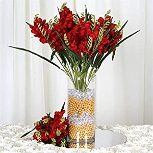 54 Artificial Freesia Flower Bushes Wedding Vase Centerpiece Decor – Red