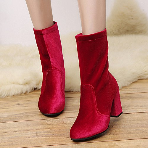 Ladies Heels Boots High Flock Red Women Martin Warm Banstore Ankle Boots Shoes 8 Faux Buckle 5cm BSx7qpA