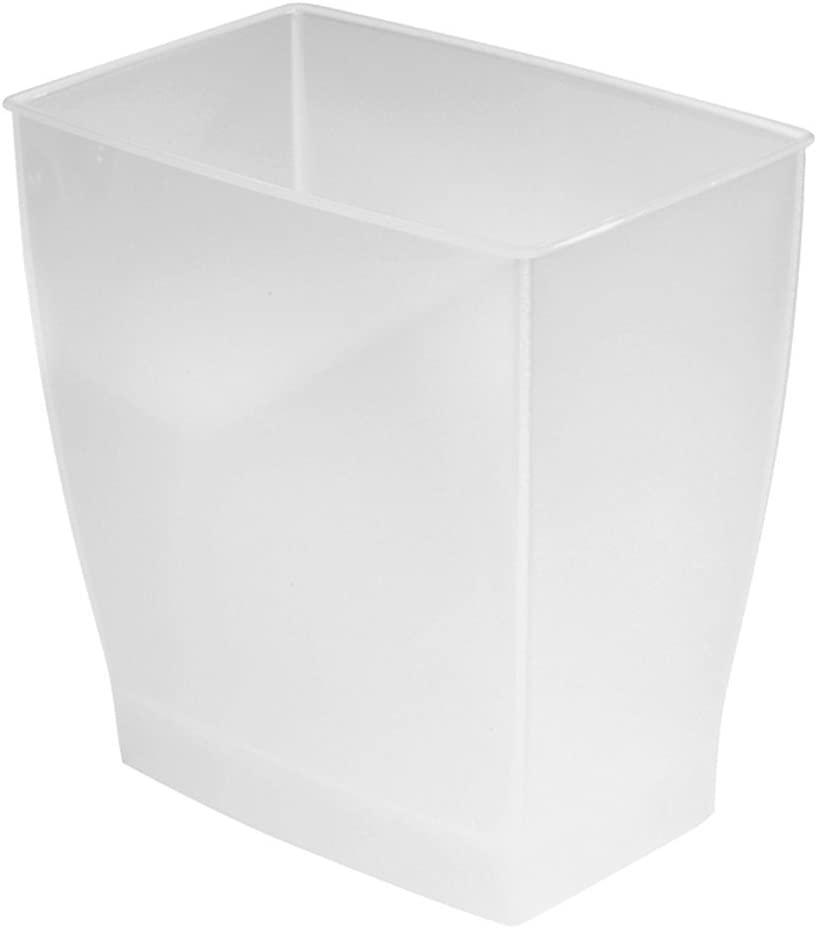 iDesign Spa Rectangular Trash Can, Waste Basket Garbage Can for Bathroom, Bedroom, Home Office, Dorm, College, 2.5 Gallon, Frost
