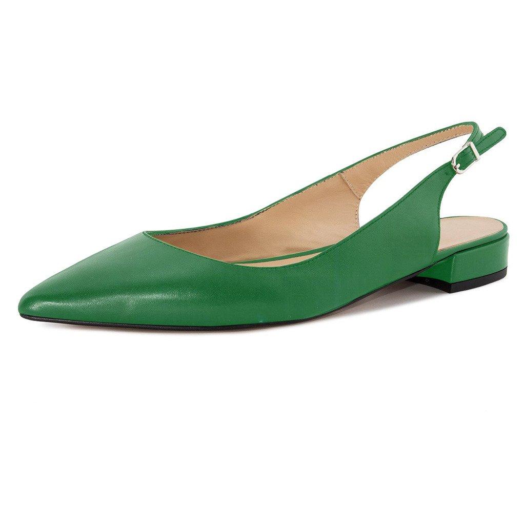 Eldof Women Low Heels Pumps | Pointed Toe Slingback Flat Pumps | 2cm Classic Elegante Court Shoes B07BQVKZY9 11.5 B(M) US|Green
