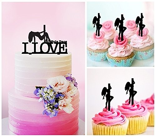 TC0194 I Love Pole Dance Girl Party Wedding Birthday Acrylic Cake Topper Cupcake Toppers Decor Set 11 pcs by jjphonecase (Image #2)