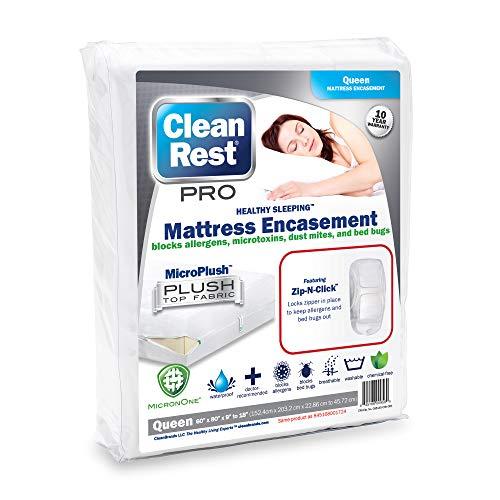 Clean Rest Pro Waterproof, Allergy and Bed Bug Blocking Mattress Encasement, Queen ()