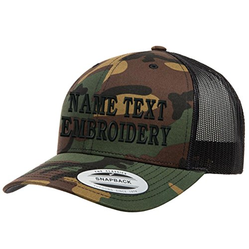 Custom Embroidered Snapback Hat Personalized Yupoong Embroidery Trucker Cap - Desert Camo Black