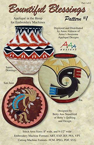 Bountiful Blessings 1 Native American Pottery Machine Embroidery Design from Anna's Awesome Applique Designs BB12017-D01 Santa Domingo, San Juan, Zia
